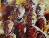 Paintings: Africa, Himba children, oil on canvas, 70x90 cm