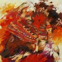 Paintings: Africa,  Masai woman, oil on canvas, 100 x 100 cm