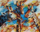 Paintings: Africa, Three giraffes, oil on canvas, 80x100 cm