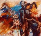Paintings: Africa, Circumcised  Masai-boys with giraffes, oil on canvas, 150 x 170 cm