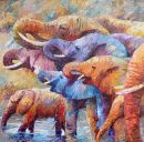 Paintings: Africa, Drinking scene, oil on canvas, 130x130 cm
