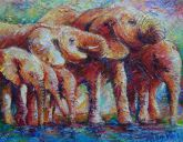 Paintings: Africa, Drinking Elephants in the blistering sun, oil on canvas, 70x90 cm,