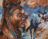 Paintings: Africa, Himba woman with oryx, oil on canvas, 80x100 cm