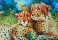 Paintings: Africa, Lazy cheetah couple on a sunny day, oil on canvas, , 90x130 cm