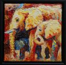 Paintings: Africa, Elephants, oil on canvas, 20x20 cm with black frame