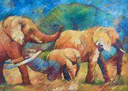 Schilderijen: Afrika, Portret en kudde olifanten, olieverf op linnen, 100 x 140 cm