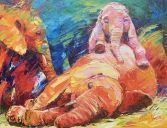 Paintings: Africa, Playing young elephants, oil on canvas, 70x90 cm