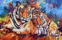 Schilderijen: Afrika, Tijgers, olieverf op linnen, 90x140 cm
