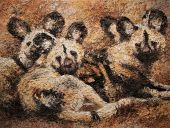 Paintings: Africa, Wild dogs, oil paint on canvas, 90x120 cm