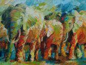 Schilderijen: Art-Prints, Afrikaanse olifanten in hun groene omgeving