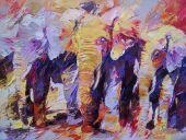 Schilderijen: Art-Prints, Olifanten in de Afrikaanse herfst