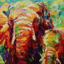 Schilderijen: Art-Prints, Olifantenmoeder met jong