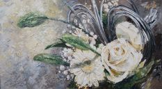 Paintings: Miscellaneous, White flowers, oil on canvas, 100 x 180 cm