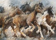Paintings: Horses, Racing Mustangs, oil on canvas, 100 x 140cm