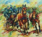 Paintings: Horses, Ben Voets on the chariot, oil on canvas, 130x150 cm