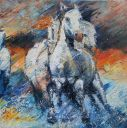 Paintings: Horses, Camargue horses galloping, oil on canvas, 60x60 cm