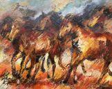 Gemälden: Pferden, Kaspische Pferde 2, Öl auf Leinwand, 80x100 cm