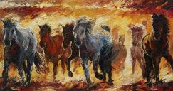 Paintings: Horses, Horses by the fire, oil on canvas, 80x170 cm