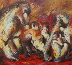 Paintings: Sale, Baboons Family, oil on canvas, 90x100 cm, € 1600, -