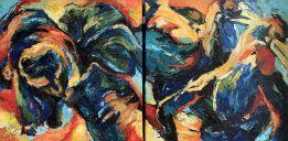 Schilderijen: Webshop, Beren en grondneushoornvogels, olieverf op linnen, 2-luik, samen 55x110 cm, nu € 1400,-