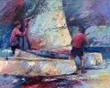 Schilderijen: Webshop, Het klaarmaken van de catamaran, olieverf op linnen, 80x100 cm, 50% kring, nu € 1225,-