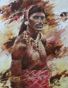Paintings: Sale, Masai man, Kenya, oil on canvas, 90x70 cm, € 1500, -