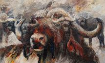 Paintings: Sold work, Buffalo, oil on canvas, 90x150 cm