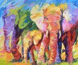 Paintings: Sold work, Cheerfull elephants, oil on canvas, 100x120 cm