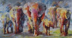 Paintings: Sold work, One big family, oil on canvas, 180 x 330 cm (three parts)