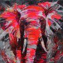 Paintings: Sold work, Impressive elephant, oil on canvas, 100x100 cm