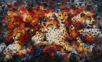 Paintings: Sold work, Cheetahs, oil on canvas, 80x130 cm