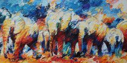 Paintings: Sold work, Herd of elephants wandering, oil on canvas, 80 x 160 cm