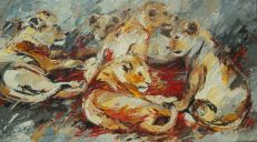 Paintings: Sold work, Lazy young lions in the Serengeti, oil on canvas, 90x160 cm