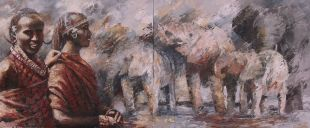 Paintings: Sold work, Maasai men with elephant herd, oil on canvas, 100 x 240 cm (two-part)