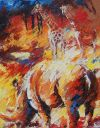 Paintings: Sold work, Rhino with giraffes, oil on canvas, 100 x 80 cm