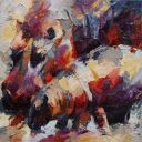 Paintings: Sold work, Hippopotamus with young, oil on canvas, 80x80 cm