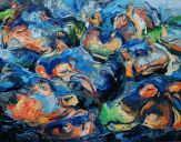 Paintings: Sold work, Hippos, oil on canvas, 110x140 cm