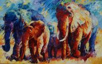 Paintings: Sold work, Elephants in colorful Africa, oil on canvas, 100x160 cm