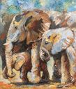Paintings: Sold work, Elephants family, oil on canvas, 70x60 cm