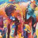 Paintings: Sold work, Elephant Family, oil on canvas, 70x70 cm
