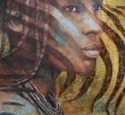 Paintings: Sold work, Portrait Himba girl with zebra, gold oil on canvas, 100x110 cm