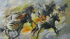 Paintings: Sold work, Running zebras, oil on canvas, 90 x 160 cm