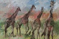 Paintings: Sold work, Four giraffes, oil on canvas, 100x150 cm