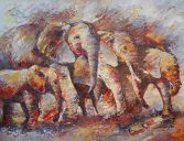 Paintings: Sold work, Elephants with small one, oil on canvas, 100 x 130 cm