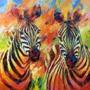 Paintings: Sold work, Zebra's oil on canvas, 110x110 cm